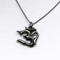 Aged Silver Om with silver ballchain