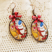 REN &amp; STIMPY - Happy happy, Joy joy - Ren and Stimpy Earrings - 90&#x27;s Nostalgia
