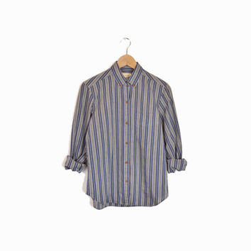 Vintage 90s Striped Button Down Boy Shirt in Blue & Gray - women's small