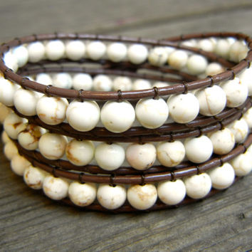 Beaded Leather Wrap Bracelet 3 Wrap with White Howlite Beads on Genuine Brown Leather Cream Bracelet