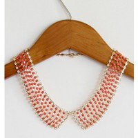 Rhinestone Pink Collar Necklace