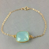 Aqua blue Chalcedony Bracelet, Cushion Cut, Bezel Gemstone Bracelet, Birthday Gift, Christmas Gift, Sister Gift, Best Friend Gift, Gold