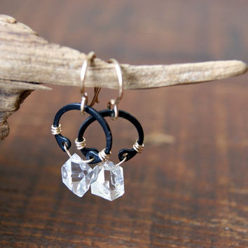 Herkimer Diamond Earrings - winter fashion - ice - industrial - Rustic Jewelry- quartz earrings - April Birthstone - boho