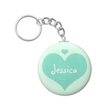 Mint Hearts - Personalized Name Keychain