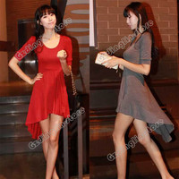 Women's Tail Evening Party Sexy Clubwear Irregular Short Sleeve Mini Dress #365