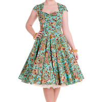 * Sugar Skull Printed dress.* Print is of sugar skulls and flowers on a turquoise background.* Waist seam.* Circle skirt.* Bodice is gathered into a tab at the centre front.* Sweetheart neckline.* Bolero style panels at the shoulders.* Cap sleeves.* High b