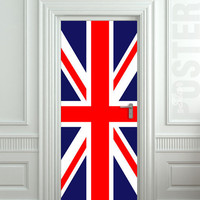 "Door STICKER British flag UK banner Great Britain England English London mural decole film self-adhesive poster 31x79""(80x200 cm)"