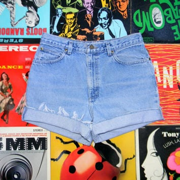 High Waisted Denim Shorts - 90s Light Wash Blue Jean Shorts - Frayed, Cuffed, Naturally Distressed JONES SPORT Shorts Size 8 10 Medium M