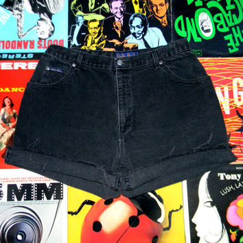 High Waisted Denim Shorts - 90s Black Stone Washed Jean Shorts - Frayed, Rolled Up, DELTA BURKE JEANSWEAR Cut Offs, Size 14 16 w, Plus Size