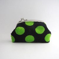 Frame Purse- green dots on black soft fur