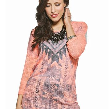 Aztec Lace Back Graphic Sweater