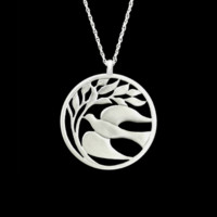 Fine Pewter Elusive Dove Small Pendant by Lovell Designs