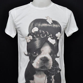 The Pin-Up Dog Audrey Hepburn Dog Hollywood Actress Audrey Kathleen Ruston Cotton White Unisex T-Shirt