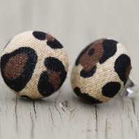 Button Earrings : Animal Print Fabric Covered Button Earrings, Cute, Fun, Simple, Unique, Casual