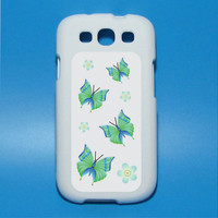 Turquoise and Green Butterflies in flight with flowers Iphone decal Mac decal Galaxy 3 decal ipad decal iphone sticker
