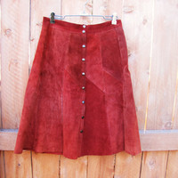 vintage burnt sienna suede skirt. size M. made in Canada. fall fashion
