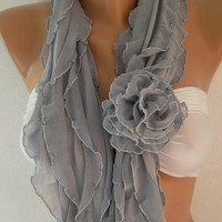 Elegant Scarf - Infinity Scarf Loop Scarf  Gray  Roses....It made with good quality chiffon fabric....Bridesmaids Gifts