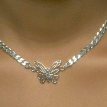 Butterfly Necklace, Sterling Silver Beveled Curb with Lobster Clasp -- Size: 16in x 5.5mm