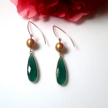Green Onyx and Brushed Gold Vermeil Dangle Earrings With Gold Filled Earwires
