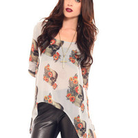 GYPSY WARRIOR - Floral Skull Hi Low Tunic