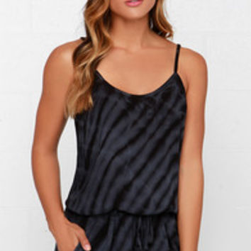 Others Follow Misty Black Tie-Dye Romper