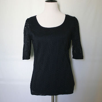 Dark navy blue geometric lace top from Shop Lily&Ofelia