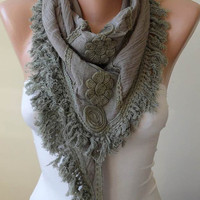 Khaki Green Triangular Scarf with Trim Edge - Cotton Fabric