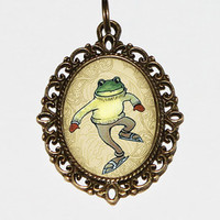 Skating Frog Necklace, Frog Jewelry, Skating, Frogs, Hockey Jewelry, Oval Pendant