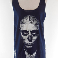 Rick Genest Shirt Zombie Boy Shirt  -- Skull Tattoo Shirt Women Tank Top Tunic Tank Singlet T-Shirt Vest Sleeveless Navy Blue T-Shirt Size M