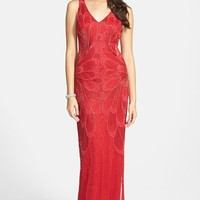Women's Adrianna Papell Beaded Open Back Column Gown,
