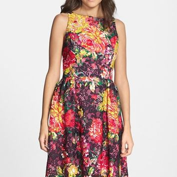 Women's Adrianna Papell Floral Print Lace Fit & Flare Dress,