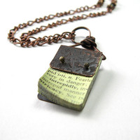 Vintage Style Industrial Chic Antiqued Copper Necklace Rustic Mini Book Pendant