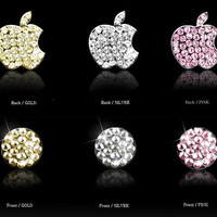 Swarovski Elements Crystals  Crystal diamond  logo Stick  and iPhone Home Button Sticker for ipone 3 3G 4 4S iPad 1 2 Free Shipping