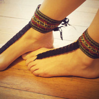 Beautiful Aztec Barefoot Sandals,Hippie Gladiator Style Crochet Accessories, Bridal, Bridesmaids, Summer, Beach