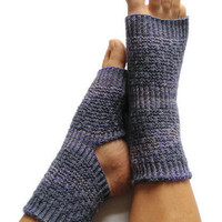 Toeless Yoga Socks Hand Knit in Purple and Blue Pedicure Pilates Dance