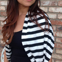 Black and white striped Infinity scarf, circle scarf, loop scarf, tube scarf, bridesmaid monogrammed gift, sorority scarf