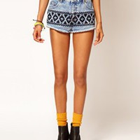 Denim Hotpants with Embroidered Tribal Design
