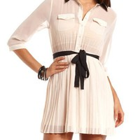 Pleated Chiffon Shirt Dress: Charlotte Russe
