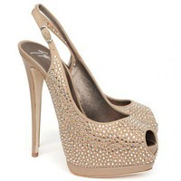 Giuseppe Zanotti Crystallized Platform Peeptoe Slingback