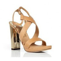 Salvatore Ferragamo Natural and Gold Bubina Sandals