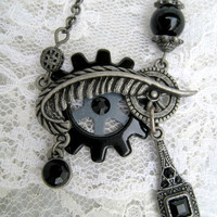 steampunk goth necklace Victorian style black antique silver