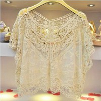 Hot! ELEGANT KOREAN FASHION CROCHET LACE WOMEN KNIT TOPS OUTERWEAR SHIRT Size M