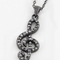 Treble Cleff Necklace in Hematite Tone
