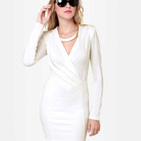 Sexy Ivory Dress - Long Sleeve Dress - Wrap Dress - $35.00