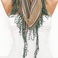 Multicolor Shawl Scarf - Headband -with Lace Edge - New-  DIDUCI
