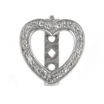 Sterling Silver & Diamond Clip-on Heart Charm