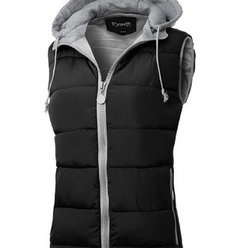 Thanth Womens Padded Puffer Active Bodywarmer Vest with Detachable Hood