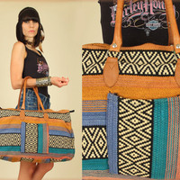 Vintage Woven Tribal Leather Oversized Kilim Weekender Bag