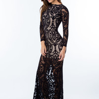 Mesh With Me Baroque Maxi Dress