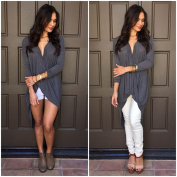 True Breeze Wrap Hi Low Blouse in Charcoal Grey